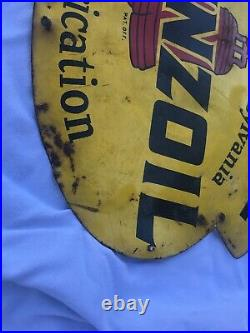 Vintage Pennzoil Sound Your Z Motor Oil Advertising Sign 12 X 8 Pump Plate