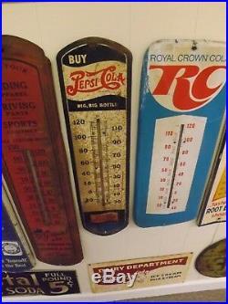 Vintage Pepsi-Cola Double Dot Metal Thermometer Sign SODA COLA GAS OIL