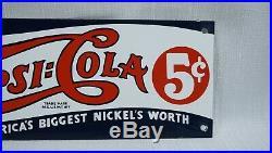 Vintage Pepsi Cola Porcelain Sign Gas Oil Metal Service Station Pump Plate Soda