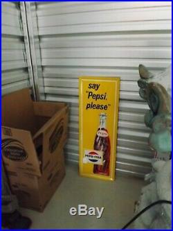 Vintage Pepsi-Cola Vertical MINT Metal Bottle Sign Yellow GAS OIL COLA