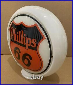 Vintage Phillips 66 Gas Pump Globe Light Glass Lens Service Station Sign Oil
