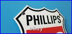 Vintage Phillips Gasoline Porcelain Gas Motor Service Station Pump Oil Rack Sign