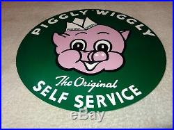 Vintage Piggly Wiggly Self Service Grocery Store 11 3/4 Metal Pig Gas Oil Sign