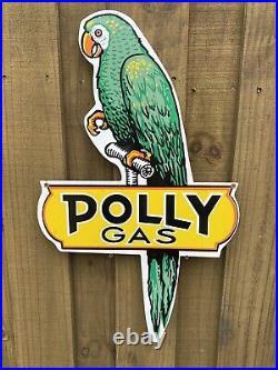 Vintage Polly Gasoline Porcelain Metal Sign 27 Oil Station Gas Pump Advertising