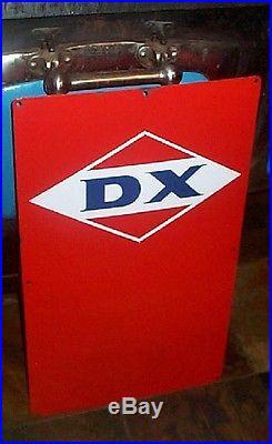 Vintage Porcelain DX Gas Pump Plate Gasoline Oil Sign Service Station 26inX16in
