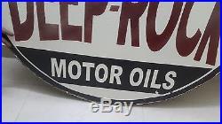 Vintage Porcelain Deep-Rock Motor Oils Gasoline 2 Sided Enamel Sign 48 inches
