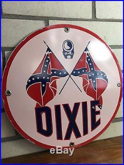 Vintage Porcelain Dixie Gasoline 12 Sign Pump Plate Gas & Oil Auto Station NR
