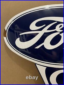 Vintage Porcelain Ford V8 Sign Truck Car Garage Wall Decor Gas Oil