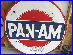Vintage Porcelain Pan Am Oil Double Sided 42 Super Rare Version