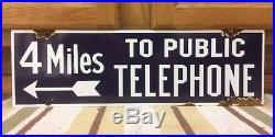 Vintage Porcelain TELEPHONE Sign General Store Bus Station Restaurant Gas Oil