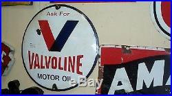 Vintage Porcelain Valvoline Motor Oil Gas Gasoline Metal Sign 16 inch