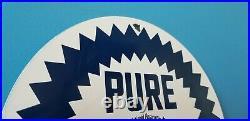 Vintage Pure Oil Co Porcelain Texas Gasoline Service Station Pump Plate Sign