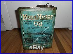 Vintage RARE 1 GALLON MONA OIL COUNCIL BLUFFS IA Advertising OIL CAN MOTORCYCLE