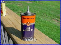 Vintage RARE 4oz Oval Firestone Lead Top Handy Gun Reel Oiler Oil Tin Can NICE