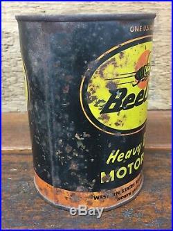 Vintage RARE Beeline Heavy Duty Motor Oil Metal 1 Quart Can North Salt Lake UT