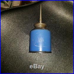 Vintage RARE JOHN DEERE Tractor Dark Blue Oiler Oil Can