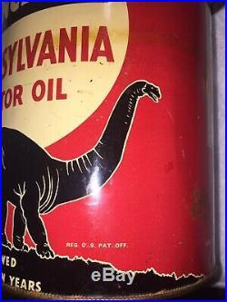 Vintage RARE Sinclair Pennsylvania Motor Oil Can 5 Qt. Black Dinosaur Dino