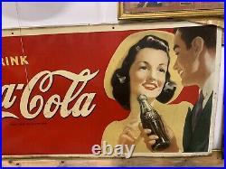 Vintage RARE Size Coca-Cola Metal Sign 1930's GAS OIL SODA COLA 67 1/2 X 32