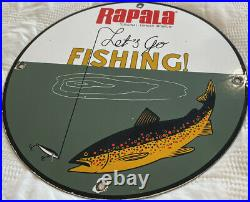 Vintage Rapala Tackle Fishing Lures Porcelain Sign Gas Oil Mercury Outboard Penn