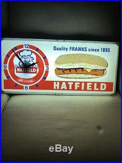Vintage Rare Hatfield Franks Hot Dogs Lighted Clock Sign Gas Oil Soda