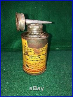 Vintage Rare Original Indian Motorcycle Chain Oil Oiler Oil Can Paper Label