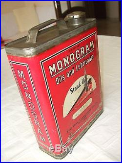 Vintage Rare U. S. A. Monogram Motor Oil Tin Can Stand Up! New York City 1gallon