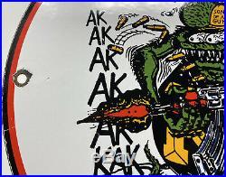 Vintage Rat Fink Porcelain Sign Steel Gas Oil Garage Pump Plate Gun Control Nra