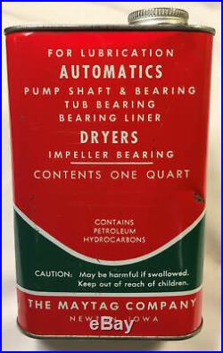 Vintage Red & Green Maytag Bearing Lubricant Oil Quart Can Tin Rare 57191-X