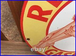 Vintage Red Head Gasoline Heavy Porcelain Sign 12 Gas & Oil Sign