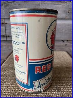 Vintage Red Indian Oil Can Aviation Oil