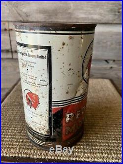 Vintage Red Indian Oil Can Motor Oil Quart