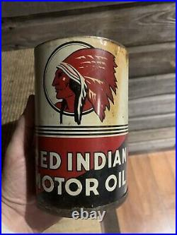 Vintage Red Indian Oil Can Motor Oil Quart Red Indian