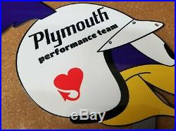 Vintage Road Runner Dodge Plymouth Performance 13 Metal Gas Oil Sign Roadrunner