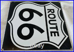 Vintage Route 66 Porcelain Night Sign Gas Auto Highway Road Shield Oil Kicks On