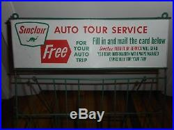 Vintage SINCLAIR GAS OIL STATION AUTO ADVERTISING DINO Map Display Rack SIGN