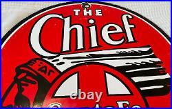 Vintage Santa Fe The Chief Porcelain Sign Gas Station Motor Oil Pump Plate Train
