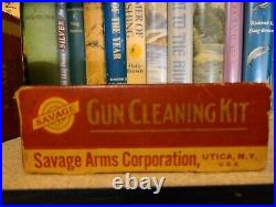 Vintage Savage Arms Gun Cleaning Kit Oil Solvent Grease Box Tin Can Complete Set