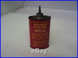 Vintage Savage Gun Oil 3 Oz Oiler Tin Empty 627-q