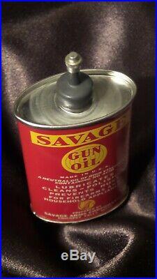 Vintage Savage Gun Oil Tin Can NICE ONE