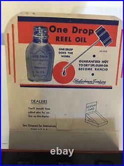 Vintage Shakespeare One Drop Fishing Reel Oil Bottle Display Advertising RARE