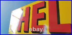 Vintage Shell Gasoline Porcelain Gas Oil Service Station 18 Pump Plate Sign