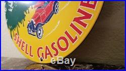 Vintage Shell Gasoline Porcelain Gas Oil Service Station Pump Plate Sign