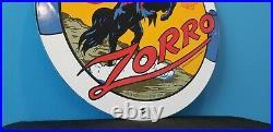 Vintage Shell Gasoline Porcelain Gas Oil Zorro Service Hollywood Calif Pump Sign