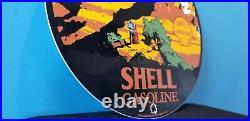 Vintage Shell Gasoline Porcelain Grand Canyon National Park Gas Oil Service Sign