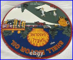 Vintage Shell Gasoline Porcelain Sign Gas Station Motor Oil Golf Pebble Beach Ca