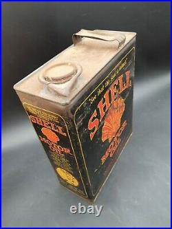 Vintage Shell Motor Oil Gallon Can Tin Garage Automobilia Motoring Rare