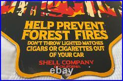 Vintage Shell Oil Porcelain Sign Gas Station Safety Advisory Prevent Forest Fire