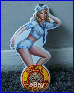 Vintage Shell Porcelain Sign Gas Oil Metal Station Door Push Girl Clam Pin Up