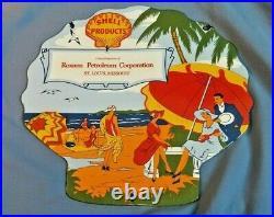 Vintage Shell Roxana Woman Beach Model Porcelain Metal Gasoline Oil Pump Sign