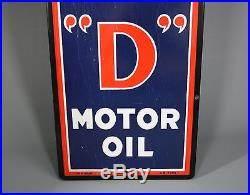 Vintage Sign, ISO=VIS D Motor Oil, Anti-Sludge, Porcelain, 60, Exc. Cond